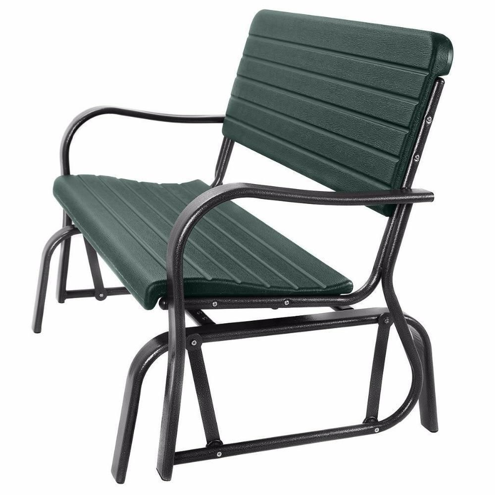 2020 Outdoor Steel Patio Swing Glider Benches For Patio Swing Outdoor Porch Rocker Glider Bench Loveseat (View 26 of 30)