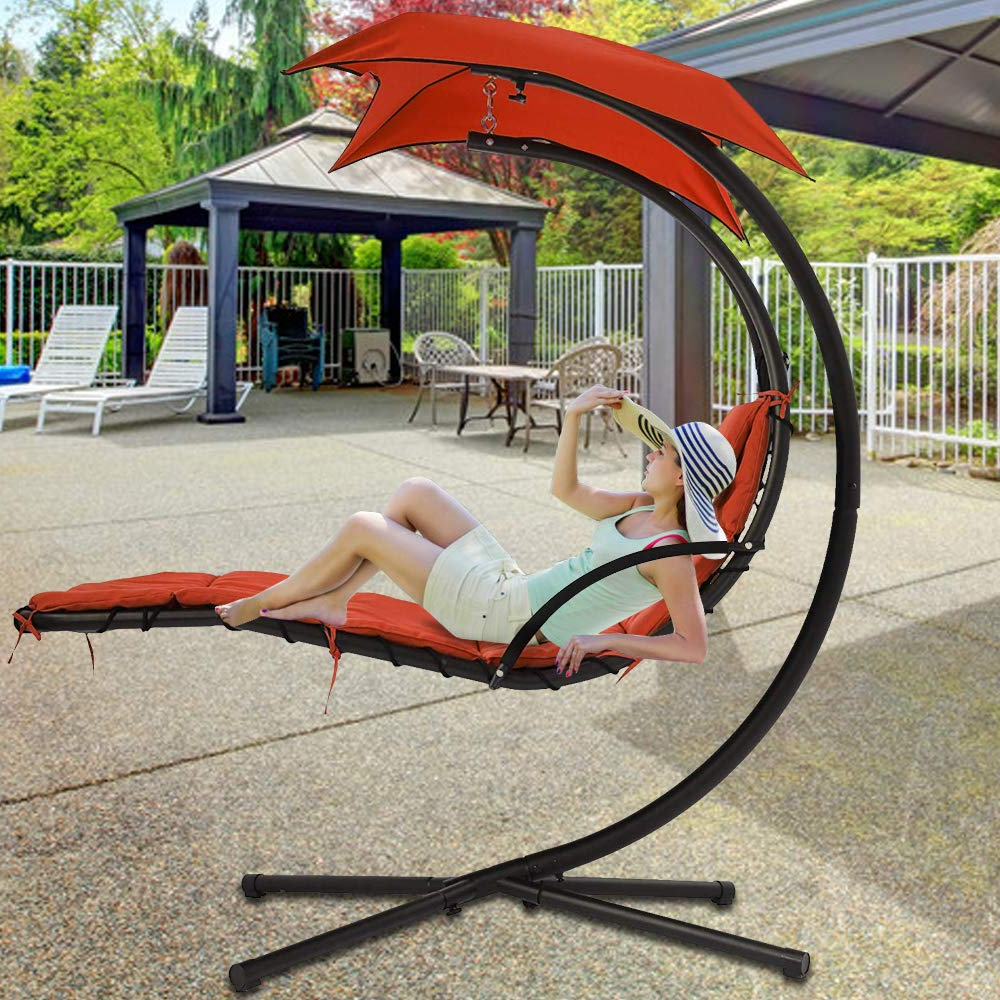 280 Lbs Capacity Hammock Chair Hanging Chair Lounge Chairs In Current Garden Leisure Outdoor Hammock Patio Canopy Rocking Chairs (View 29 of 30)
