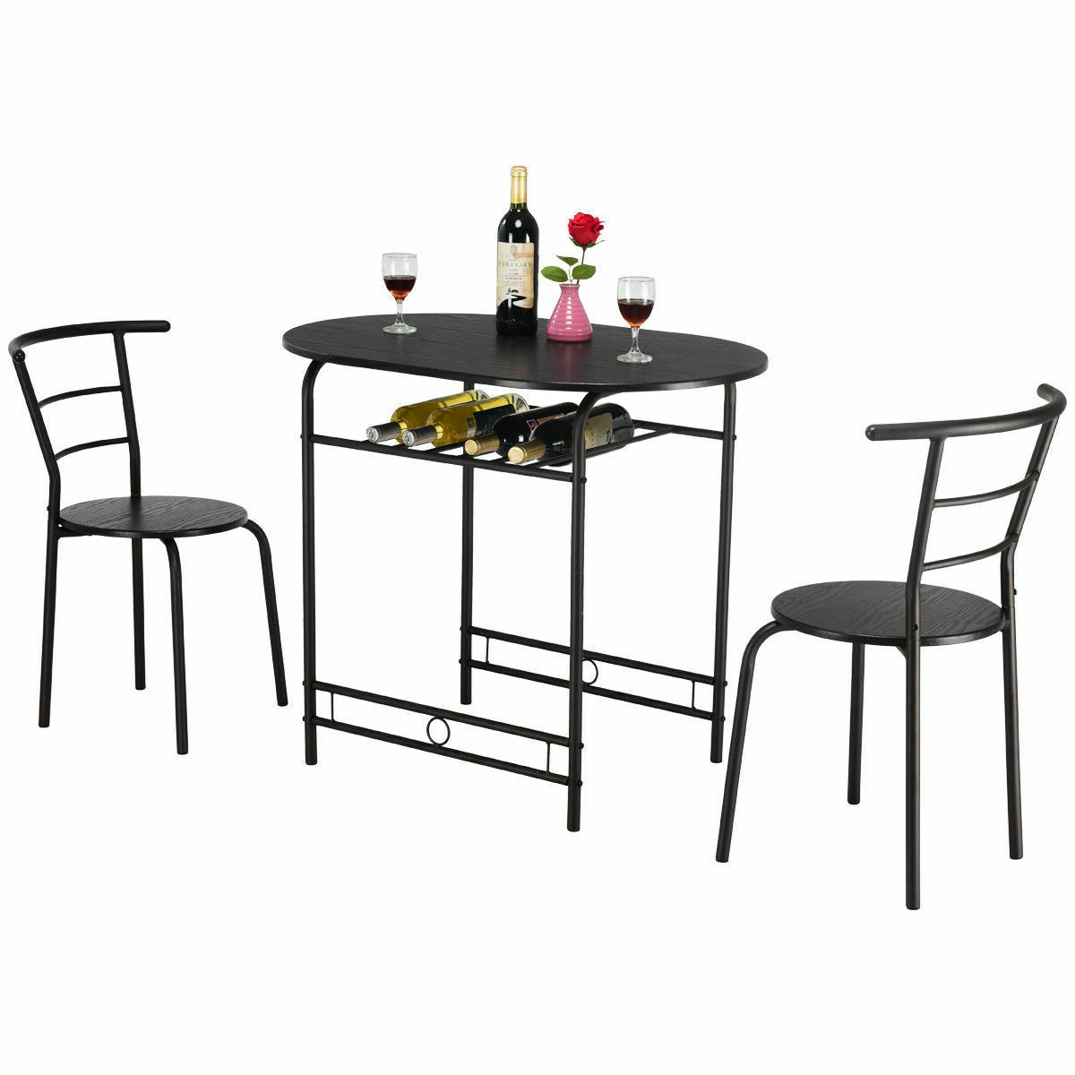 3 Pcs Dining Table Set W/1 Table And 2 Chairs Home With Best And Newest 3 Pieces Dining Tables And Chair Set (View 17 of 30)