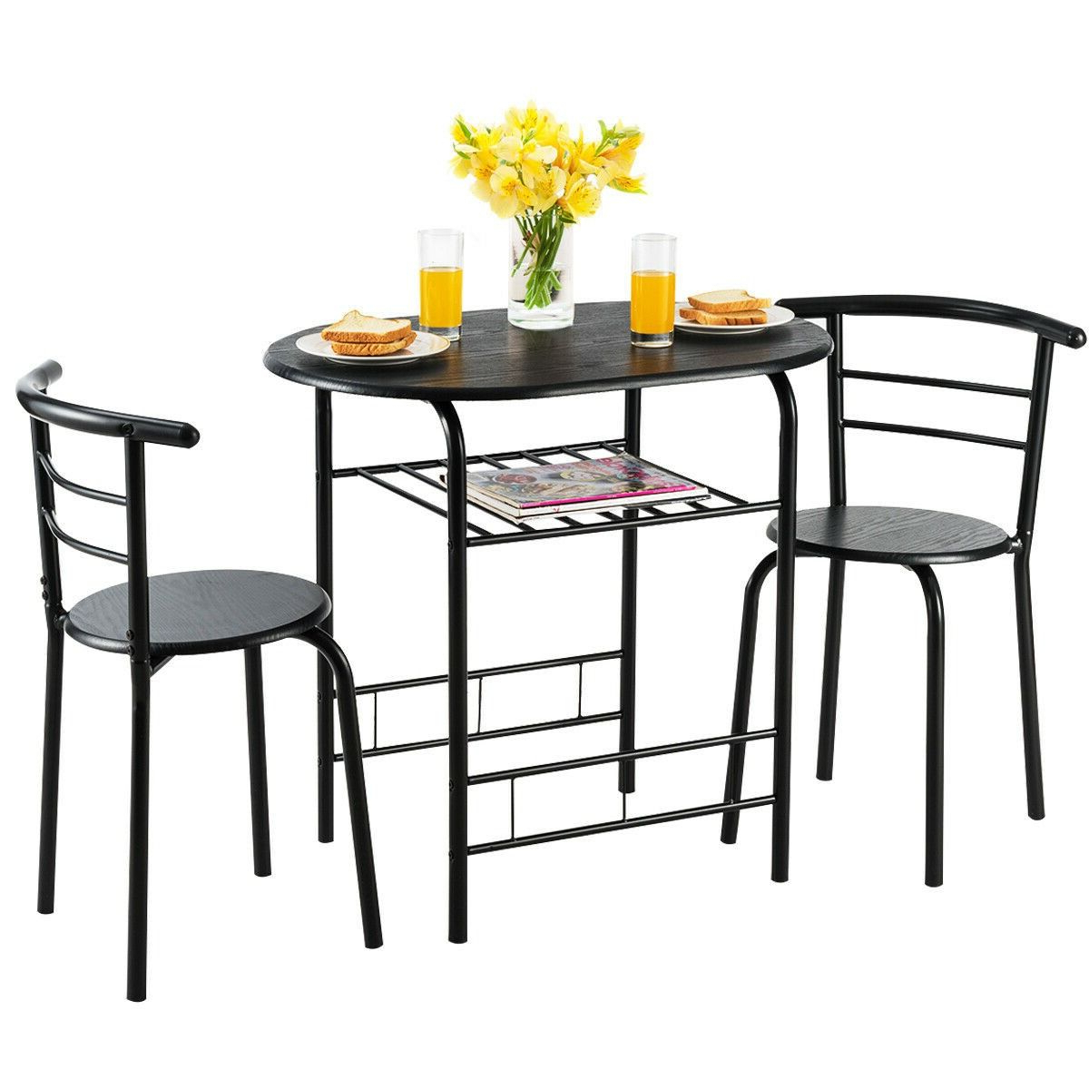 3 Pcs Home Kitchen Bistro Pub Dining Table 2 Chairs Set Regarding Popular 3 Pieces Dining Tables And Chair Set (Gallery 16 of 30)