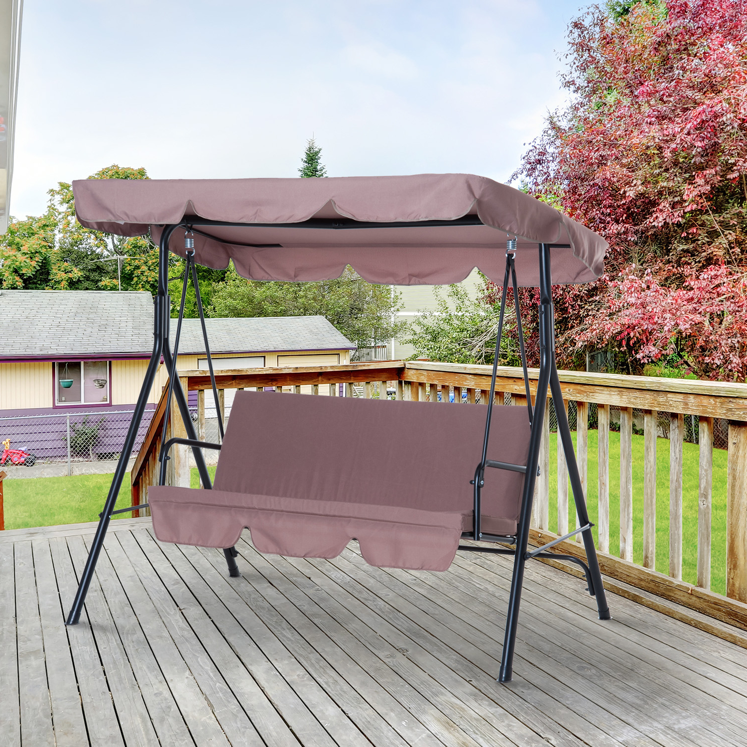 3 Person Brown Steel Outdoor Swings For Trendy Steel Outdoor Porch Swing Lounge Chair 3 Person With Top Canopy – Brown – Walmart (View 19 of 30)
