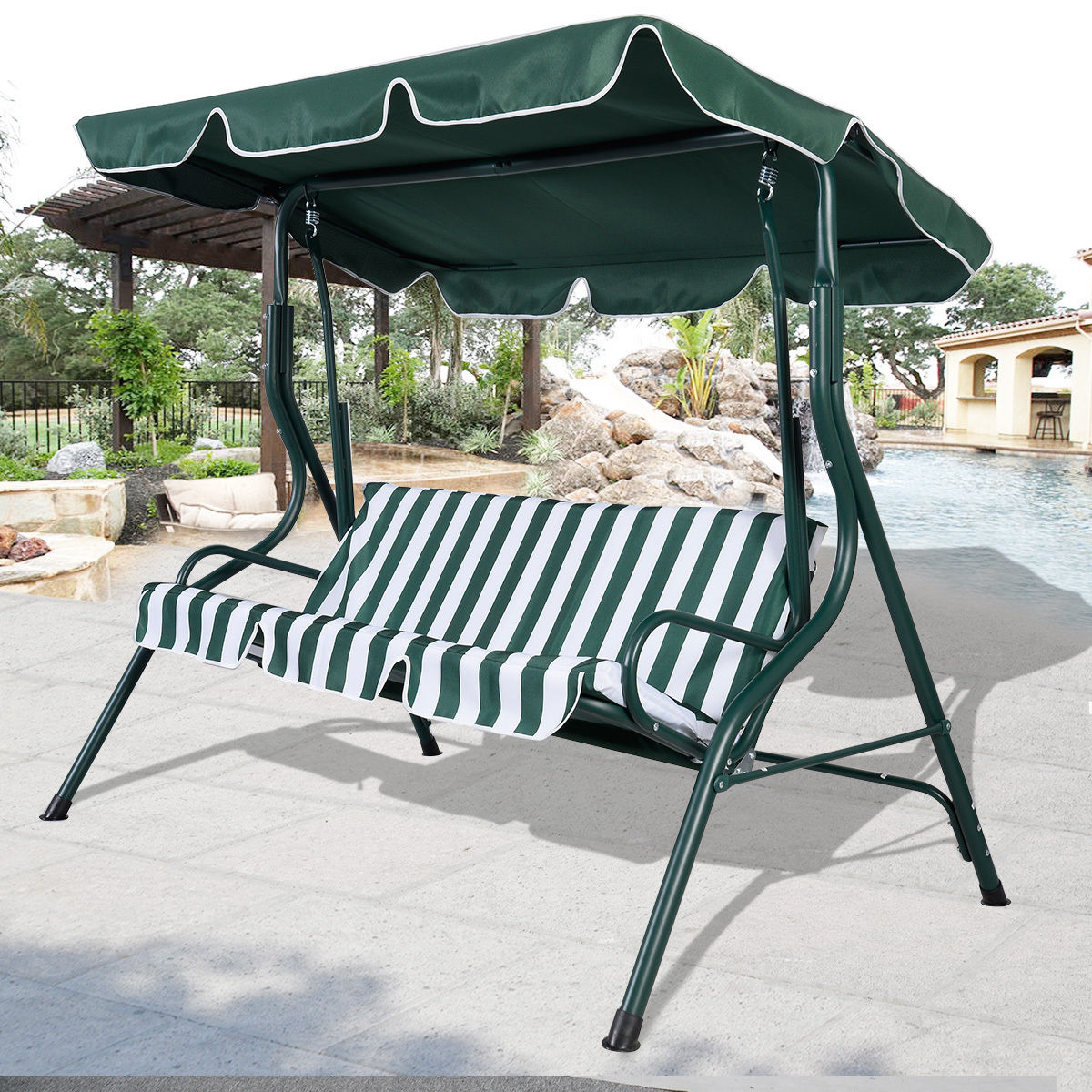 3 Person Brown Steel Outdoor Swings In Latest Swing Chair Brown 3 Person Patio Canopy Swing Sling Seating (View 23 of 30)