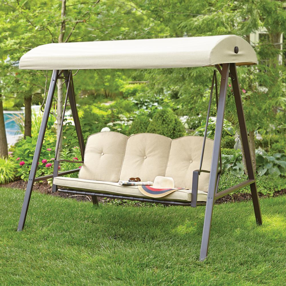 3 Person Brown Steel Outdoor Swings Throughout Well Liked Hampton Bay Cunningham 3 Person Metal Outdoor Patio Swing With Canopy (View 8 of 30)