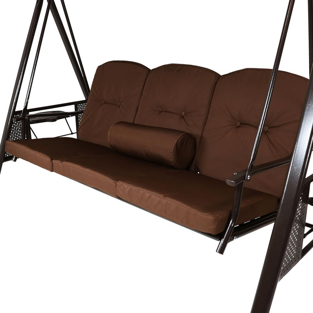 3 Person Brown Steel Outdoor Swings Within Current Cushions And Pillow Included Brown Durable Steel Metal Frame (View 15 of 30)