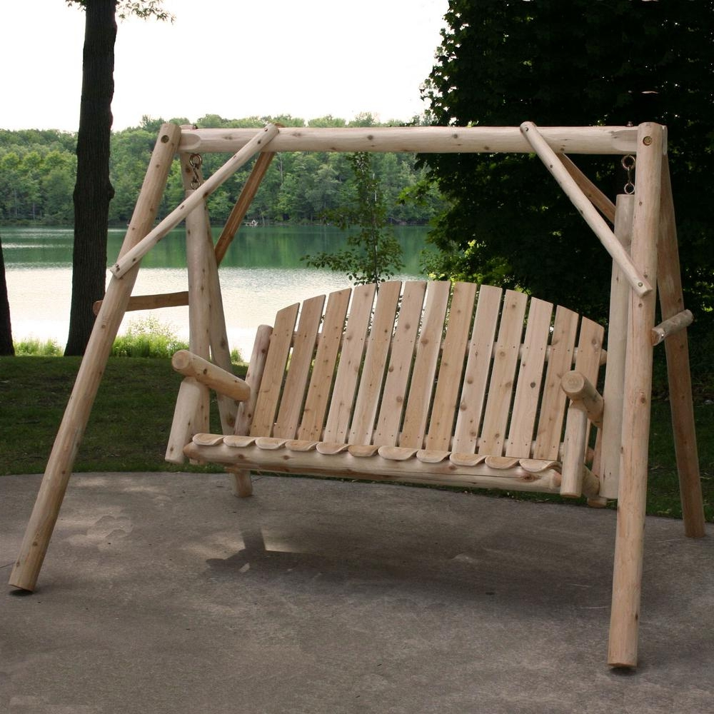 3 Person Natural Cedar Wood Outdoor Swings For Most Current Details About Outdoor Porch Swing Stand Set 54 In (View 2 of 30)