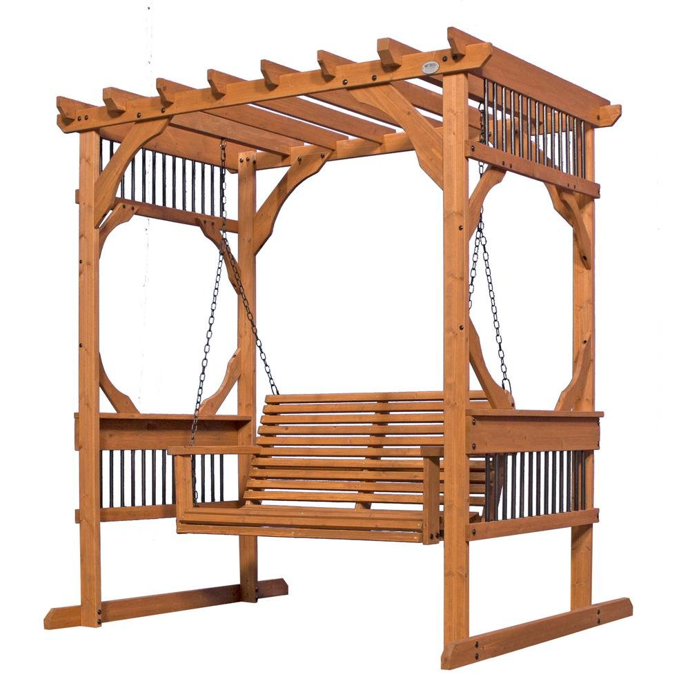 3 Person Natural Cedar Wood Outdoor Swings Inside Recent Amazon : Backyard Discovery 3 Person Wood Patio Pergola (View 4 of 30)