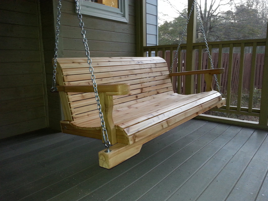 3 Person Natural Cedar Wood Outdoor Swings Intended For Well Known Atlanta Wooden Swings – Blog (Gallery 10 of 30)