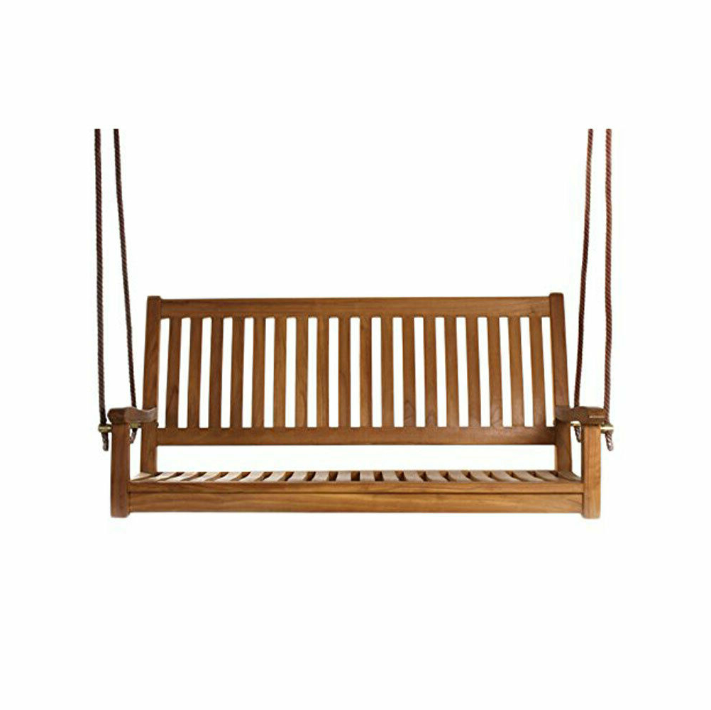 3 Person Natural Cedar Wood Outdoor Swings With Regard To Widely Used All Things Cedar Ts50 Hanging Natural Teak Oil Curved Back Renewable Wood Swing (View 30 of 30)
