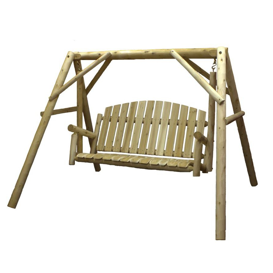 3 Person Outdoor Porch Swings With Stand Within Famous Lakeland Mills 3 Person Natural Cedar Wood Outdoor Swing At (View 8 of 30)