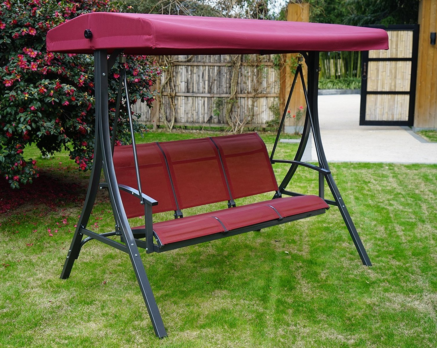 3 Person Red With Brown Powder Coated Frame Steel Outdoor Swings For Widely Used Kozyard Brenda 3 Person Outdoor Patio Swing With Strong (View 15 of 30)
