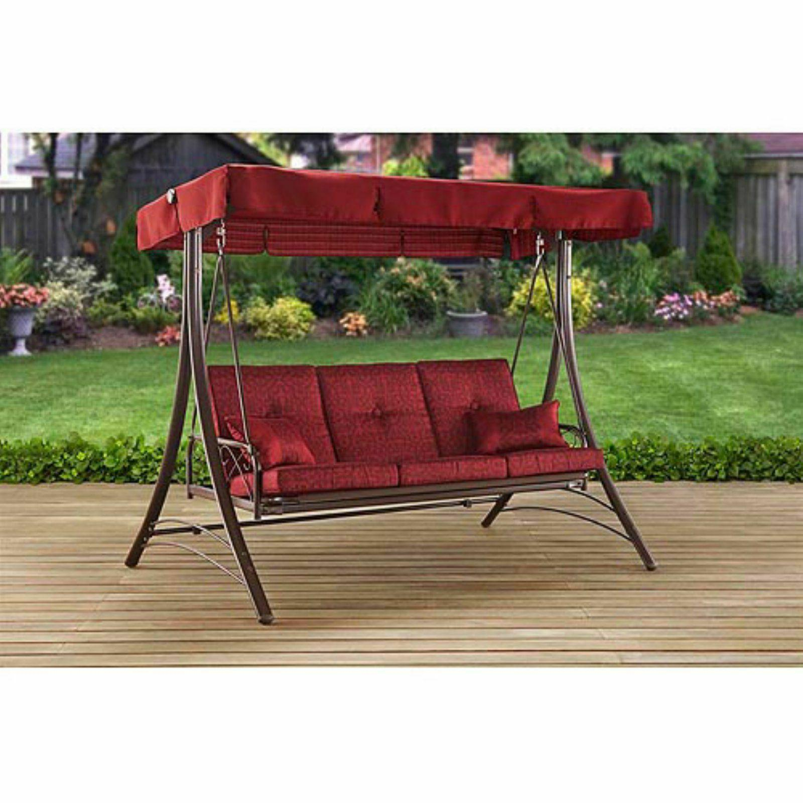 3 Person Red With Brown Powder Coated Frame Steel Outdoor Swings Intended For Well Liked Front Porch Swing Set Outdoor Patio Swin (View 16 of 30)