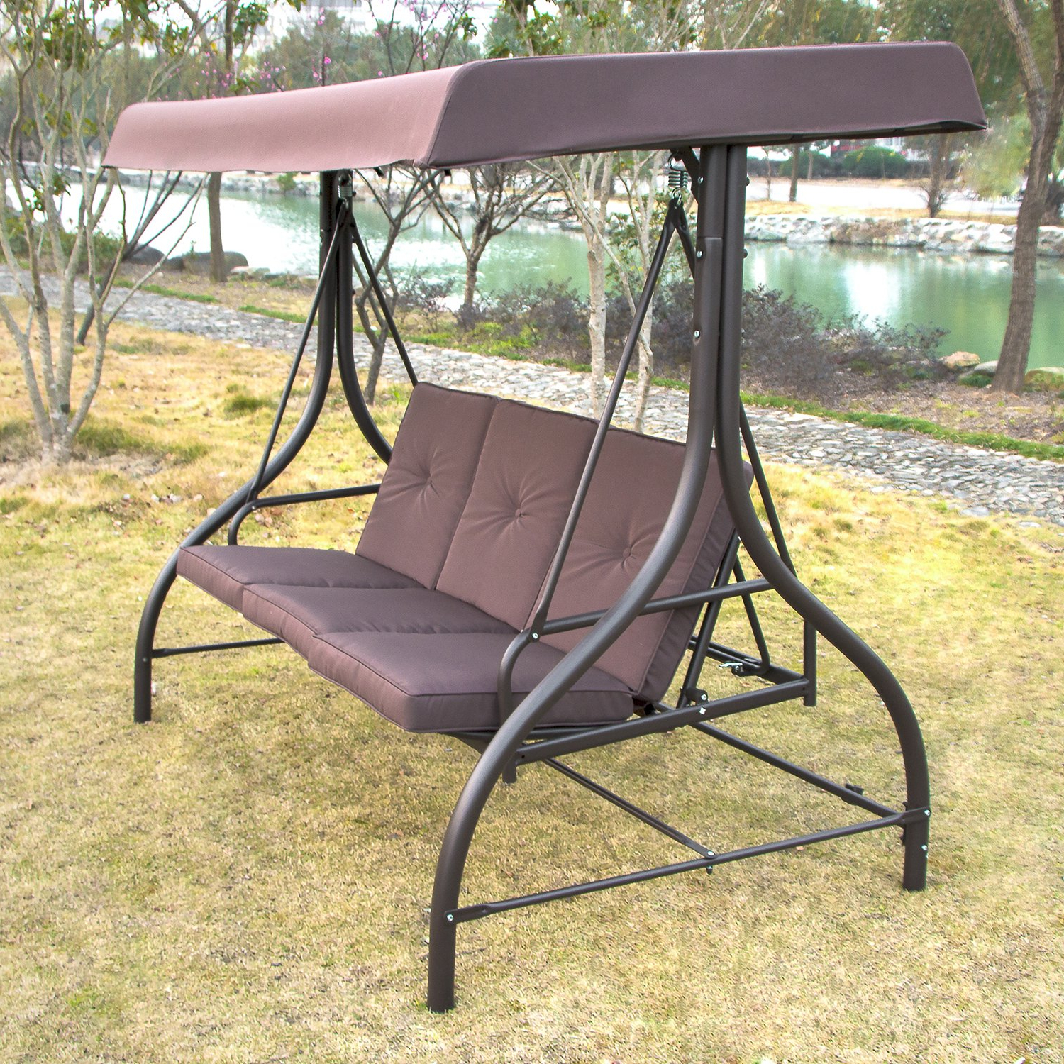 3 Person Red With Brown Powder Coated Frame Steel Outdoor Swings With Recent Amazon : Sliverylake Outdoor 3 Person Canopy Swing (View 7 of 30)