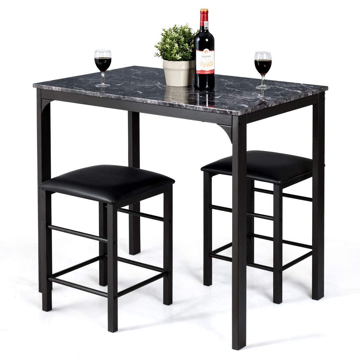 3 Pieces Dining Tables And Chair Set Intended For Recent Giantex 3 Pcs Dining Table And Chairs Set With Faux Marble Tabletop 2  Chairs Contemporary Dining Table Set For Home Or Hotel Dining Room, Kitchen  Or (View 8 of 30)
