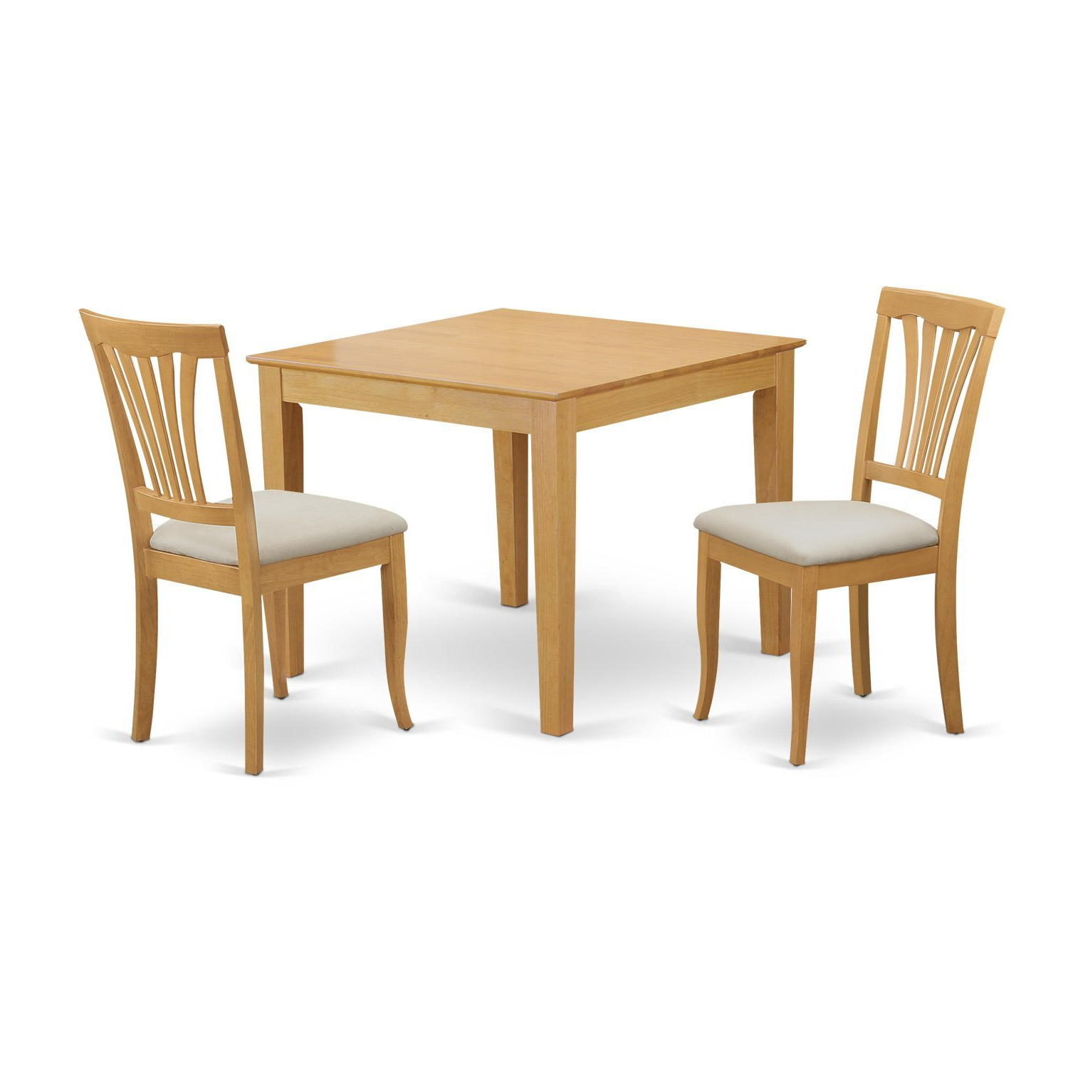 3 Pieces Dining Tables And Chair Set Regarding Current East West Furniture Oxav3 Oak C 3 Piece Dining Table For Small Spaces And 2  Chairs Set (Gallery 9 of 30)