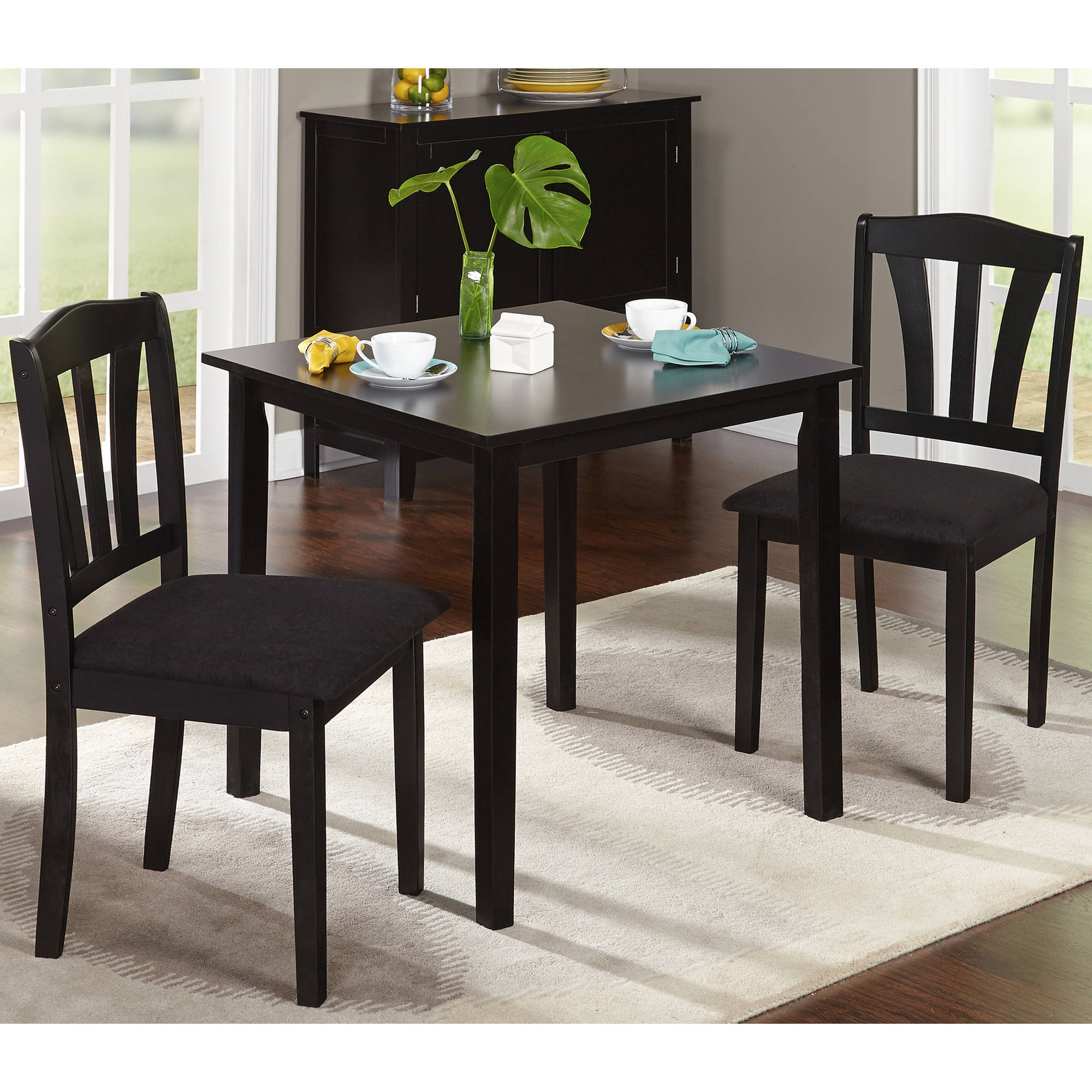 3 Pieces Dining Tables And Chair Set Within Most Current Details About 3 Piece Dining Set Table 2 Chairs Kitchen Room Wood Furniture  Dinette Modern New (Gallery 1 of 30)