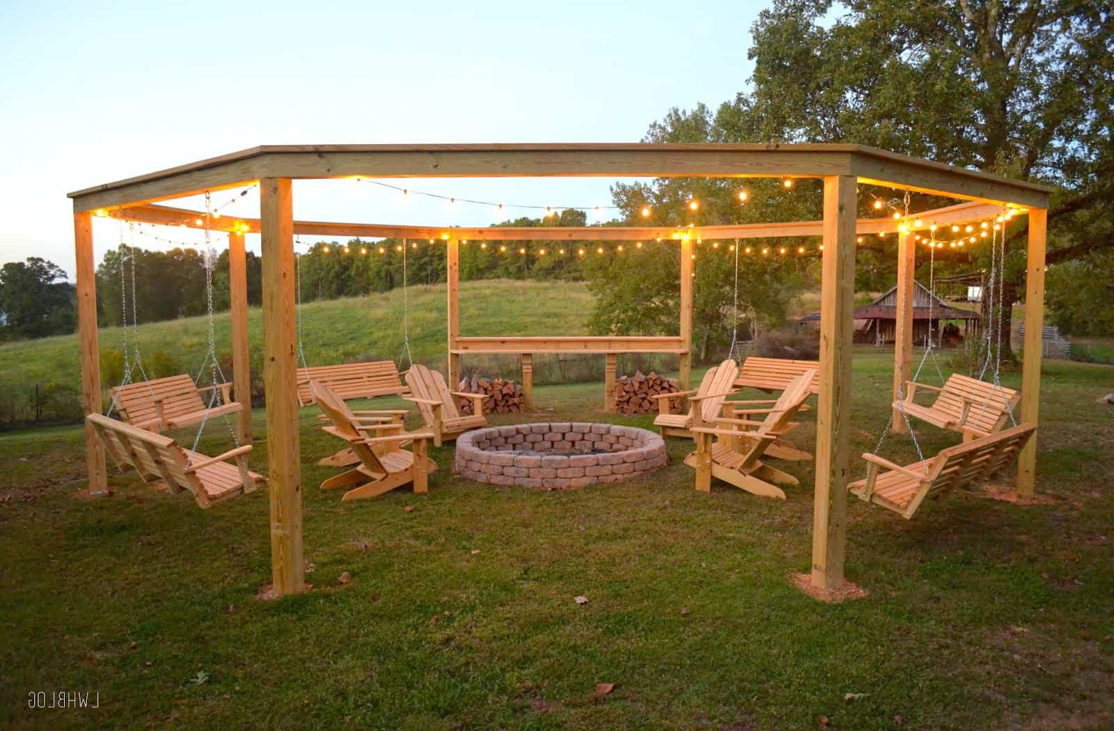 3 Seat Pergola Swings In Latest How To Build An Outdoor Pergola, Firepit And Swings (Gallery 30 of 30)