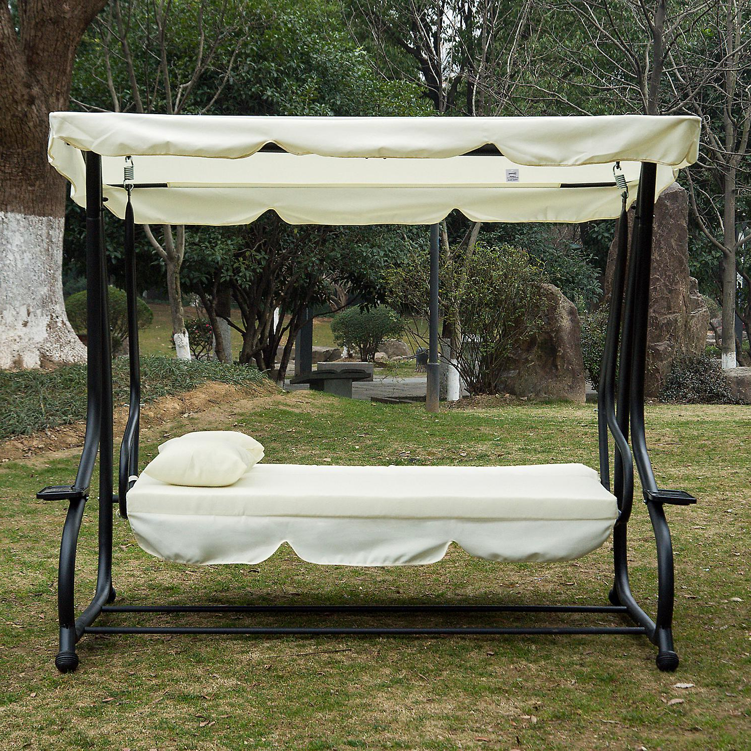 3 Seat Pergola Swings Throughout Most Recently Released Outsunny 2 In 1 Patio Swing Chair 3 Seater Hammock Cushion Bed Tilt Canopy Garden Lounger Bench (View 21 of 30)