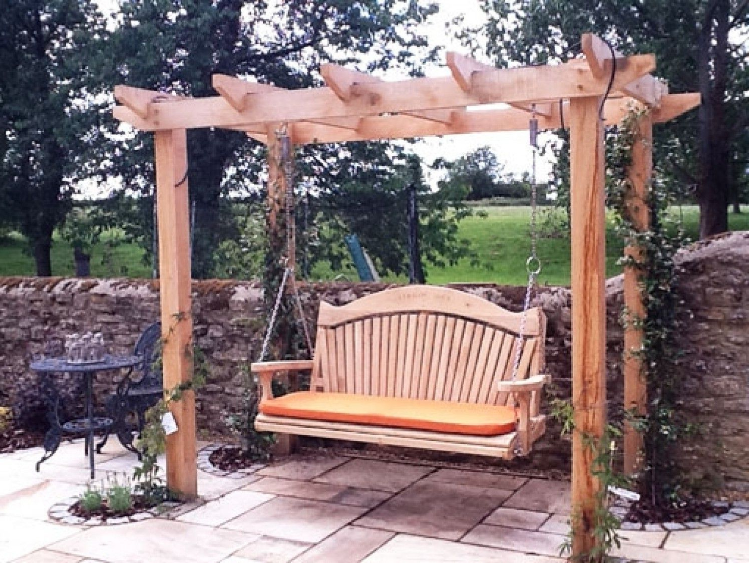 3 Seat Pergola Swings With Regard To Well Liked Quality Wooden Swing Seat And Pergola (View 12 of 30)