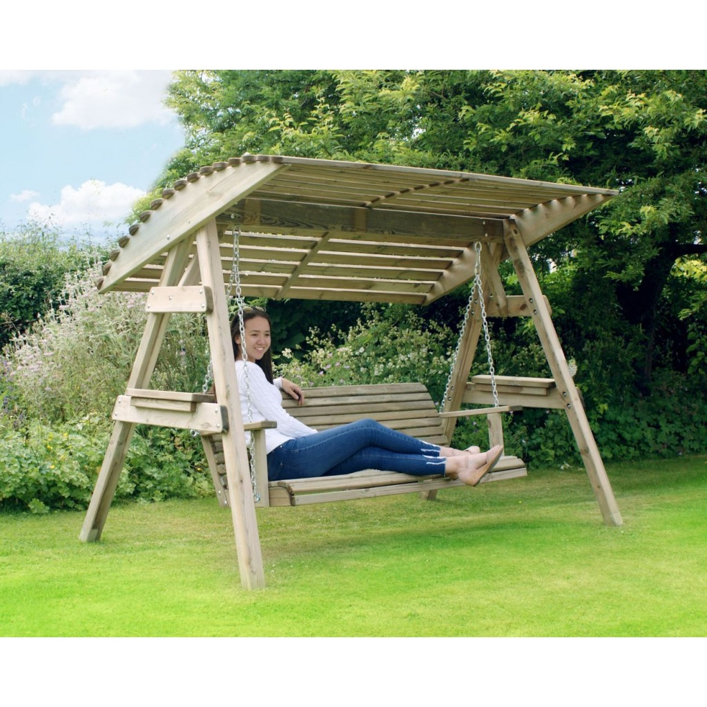 3 Seat Wooden Garden Swing Chair Seat Hammock Bench Furniture Lounger For Favorite 3 Seat Pergola Swings (View 22 of 30)