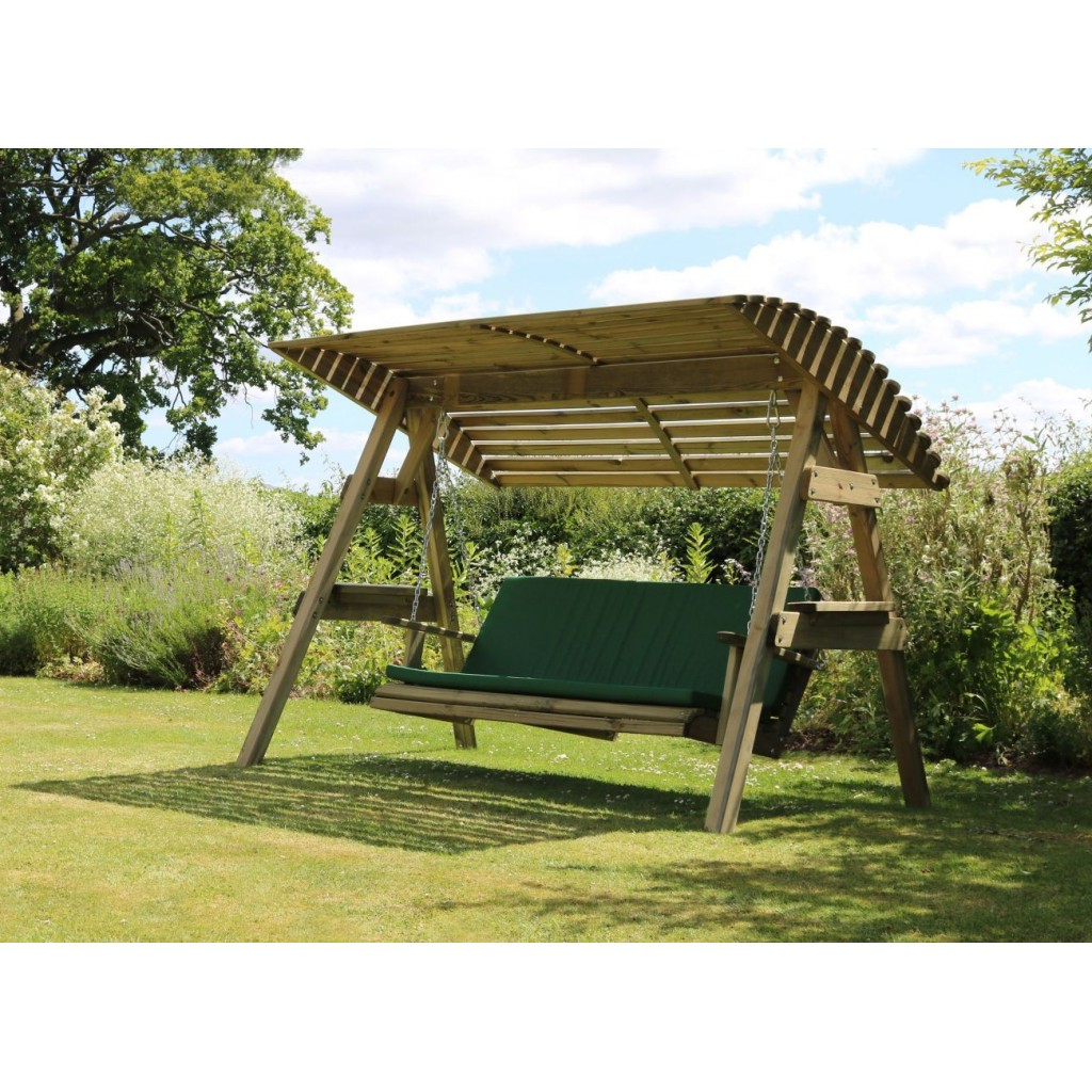 3 Seat Wooden Garden Swing Chair Seat Hammock Bench Furniture Lounger Inside Popular 3 Seat Pergola Swings (View 14 of 30)