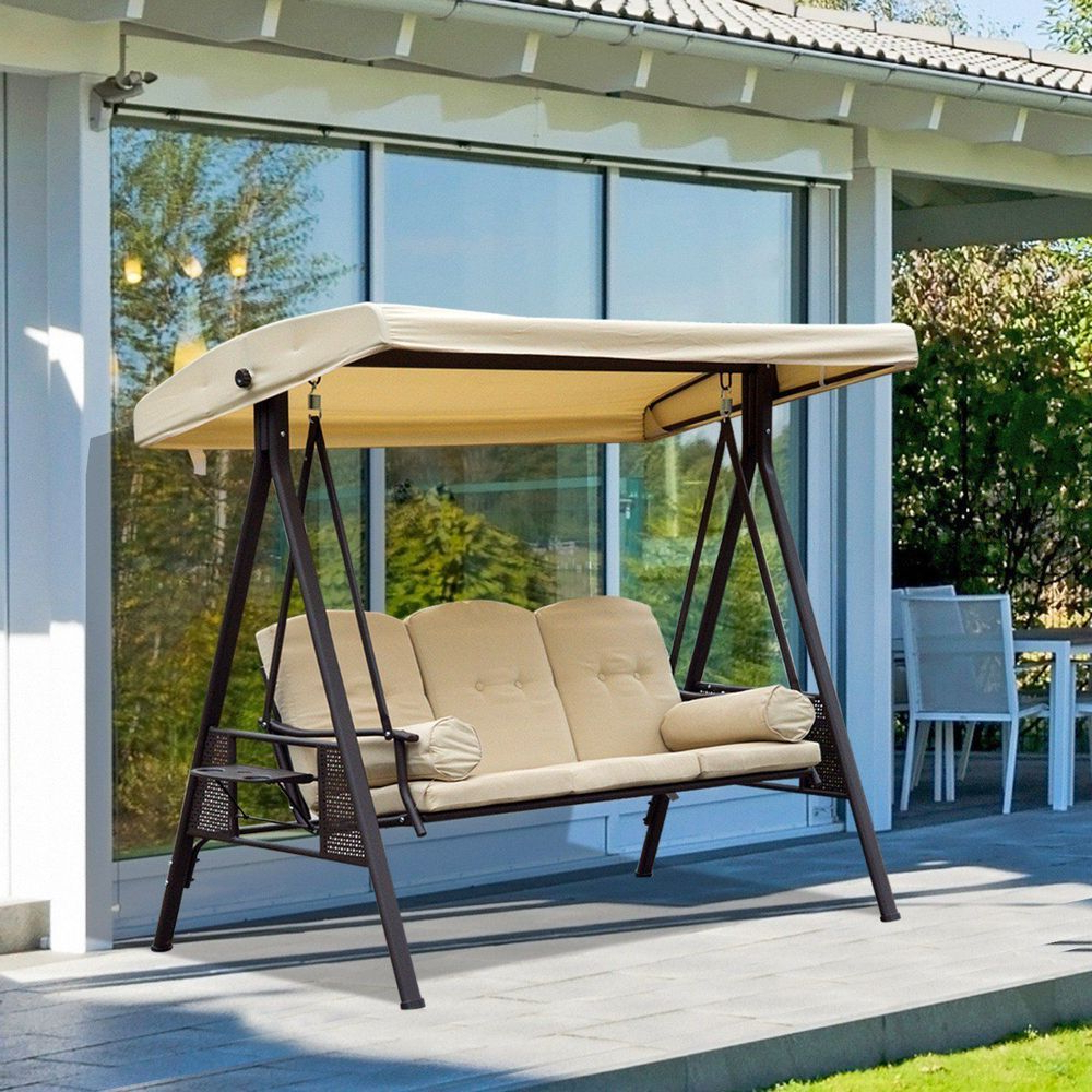 3 Seater Outdoor Swing Chair Arc Canopy Steel Frame Beige With Regard To 2019 3 Seater Swings With Frame And Canopy (View 3 of 30)