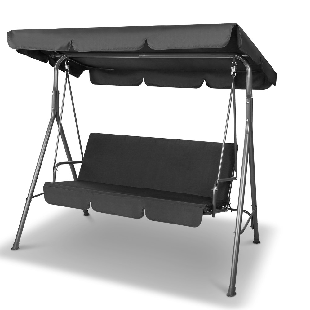3 Seater Swings With Frame And Canopy Regarding Most Popular Gardeon 3 Seater Outdoor Canopy Swing Chair – Black (View 5 of 30)