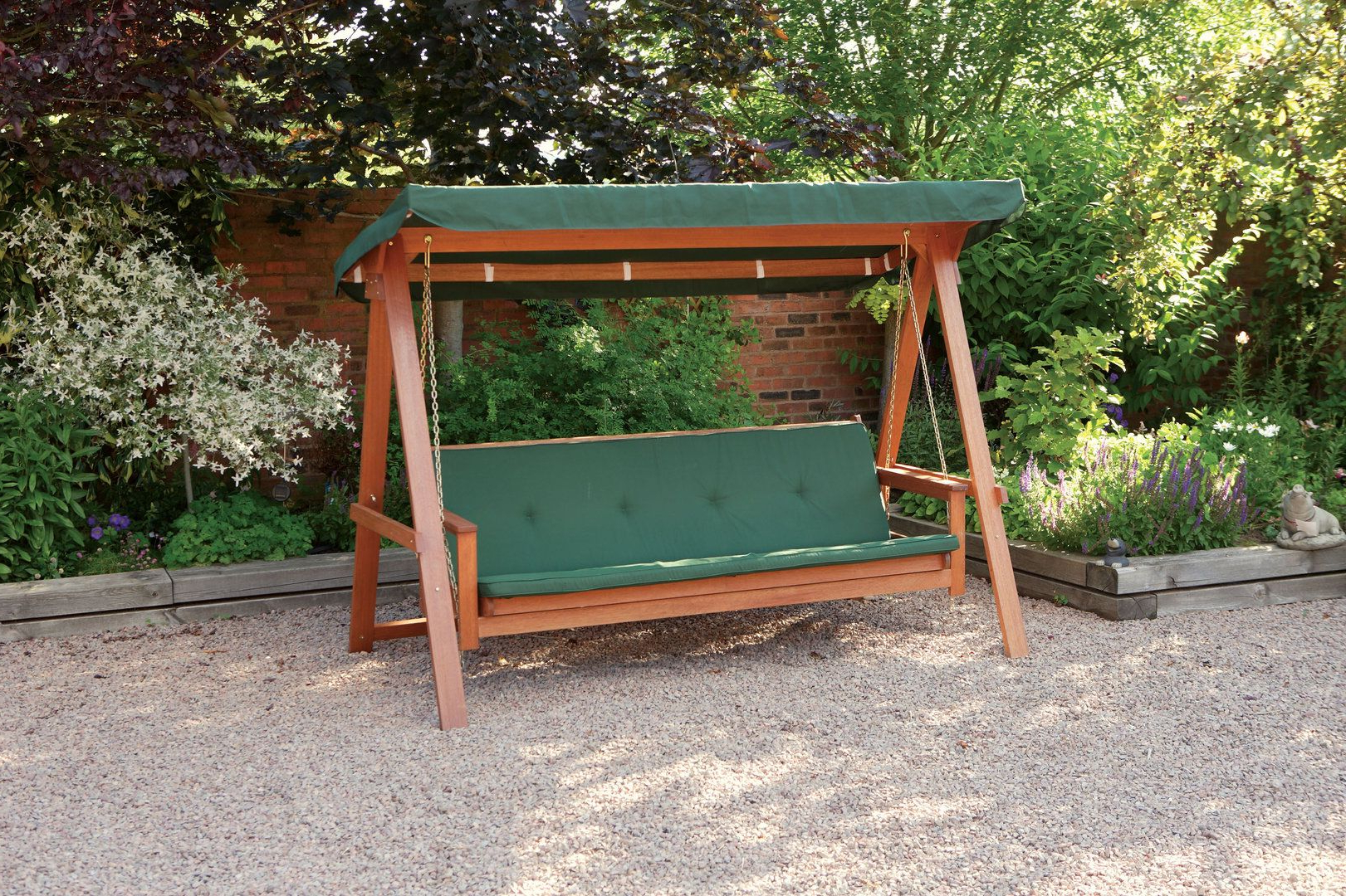 3 Seater Swings With Frame And Canopy Regarding Widely Used Quality Wooden Swing Bed 3 Seater Garden Swing Seat With (View 16 of 30)
