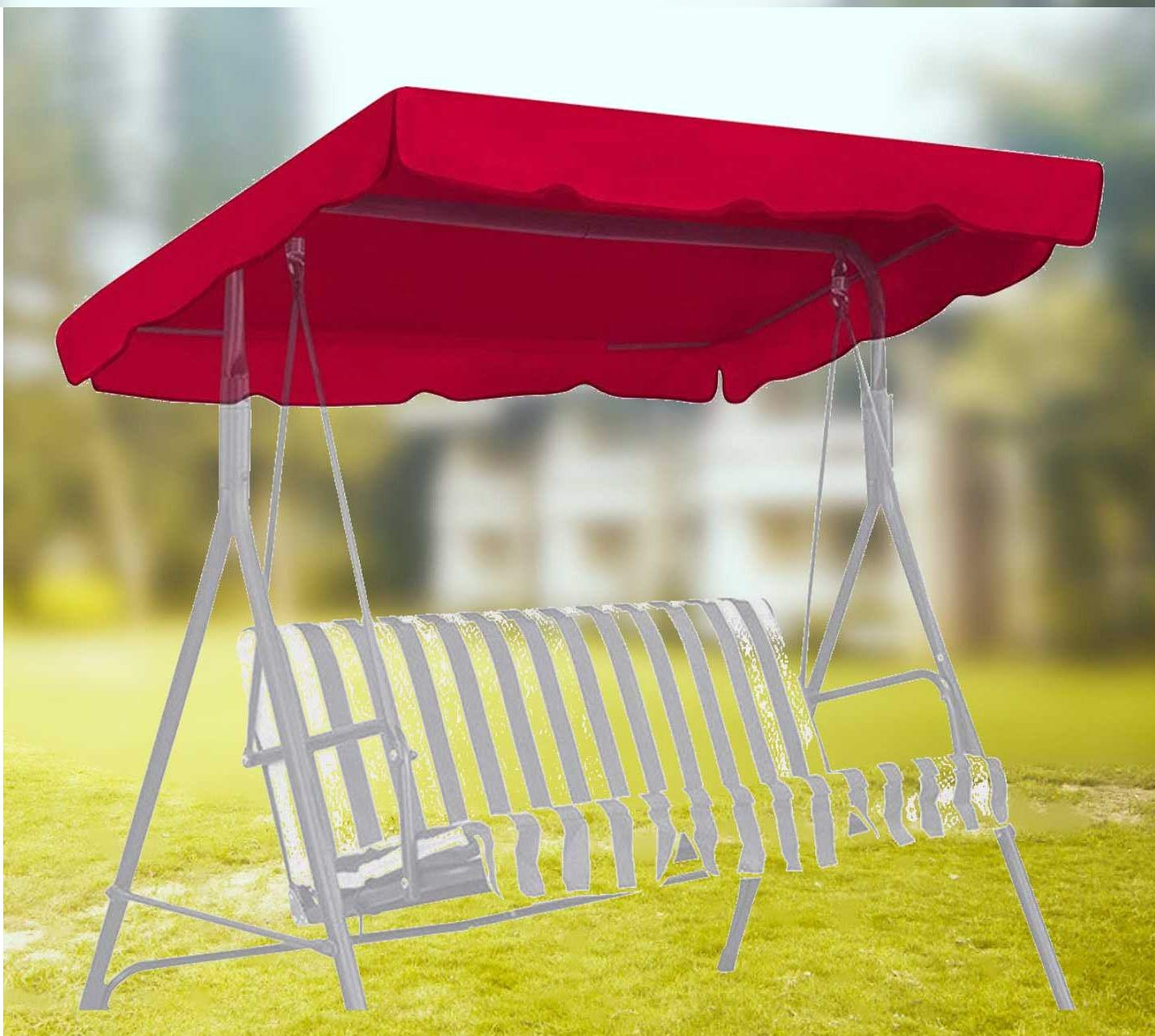 3 Seater Swings With Frame And Canopy Throughout Popular Skyfiree Outdoor Swing Canopy Replacement Top Cover 75x52 Inches 3 Seater Waterproof 600d Polyester Replacement Canopy Uv Block Garden Outdoor Porch (View 8 of 30)
