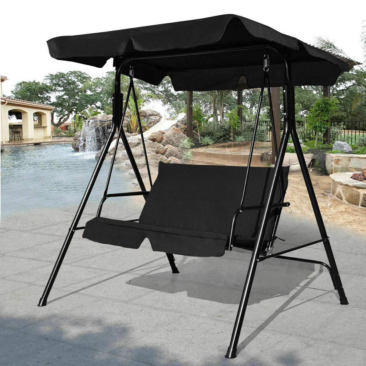 3 Seats Patio Canopy Swing Gliders Hammock Cushioned Steel Frame For Well Known Amazon : Lovelabel Black Patio 3 Seats Canopy Swing (Gallery 2 of 30)