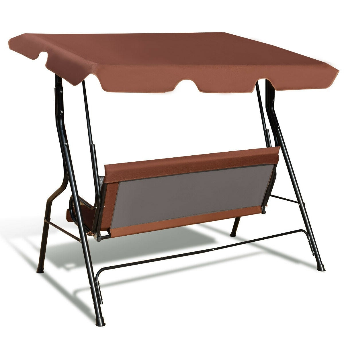 3 Seats Patio Canopy Swing Gliders Hammock Cushioned Steel Frame In Popular Costway 3 Seats Patio Canopy Swing Glider Hammock Cushioned Steel Frame  Backyar Coffee (View 4 of 30)