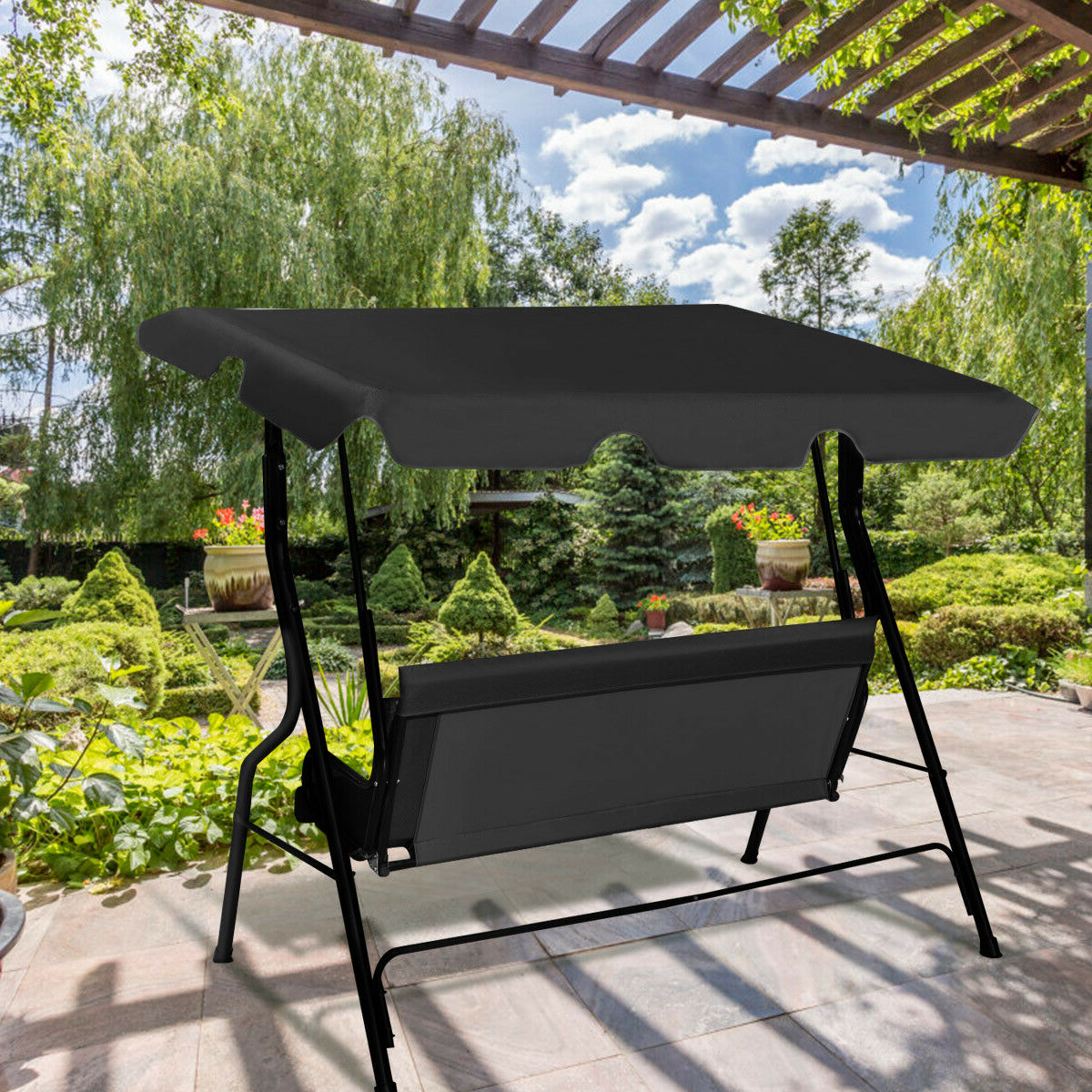 3 Seats Patio Canopy Swing Gliders Hammock Cushioned Steel Frame With 2019 Costway 3 Seats Patio Canopy Swing Glider Hammock Cushioned (Gallery 5 of 30)
