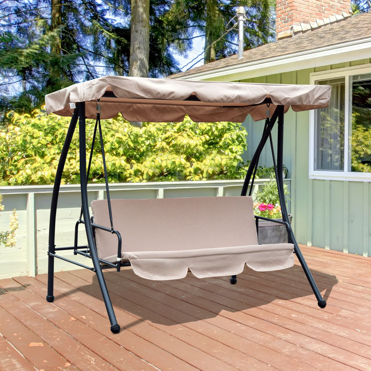3 Seats Patio Canopy Swing Gliders Hammock Cushioned Steel Frame Within Well Known Outsunny Convertible Patio Swing Chair 3 Person Hammock Cushioned Portable  Outdoor With Tilt Canopy Beige (Gallery 28 of 30)