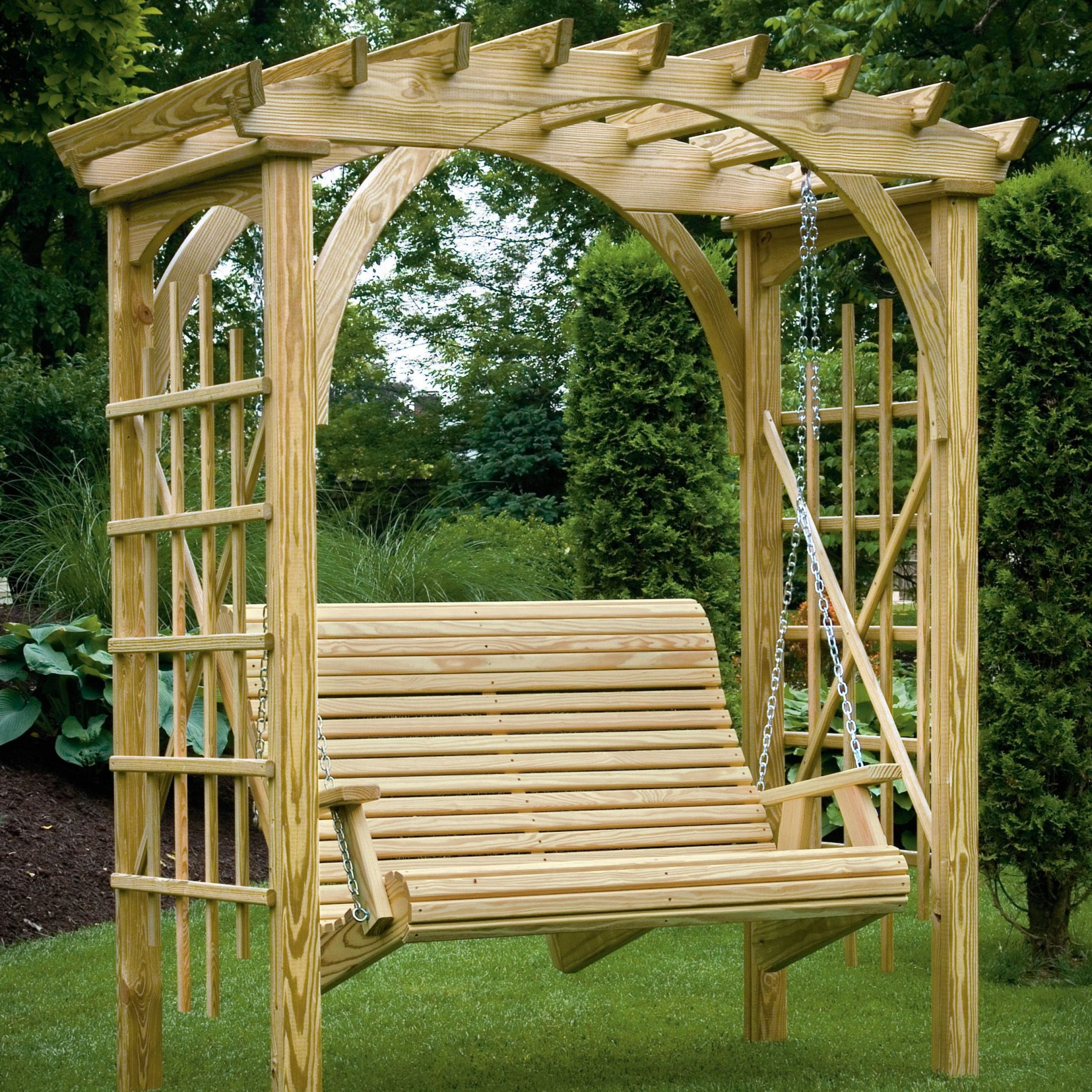 3' X 6' Roman Arch Arbor With Rollback 4' Hanging Swing Regarding Fashionable 3 Seat Pergola Swings (View 9 of 30)