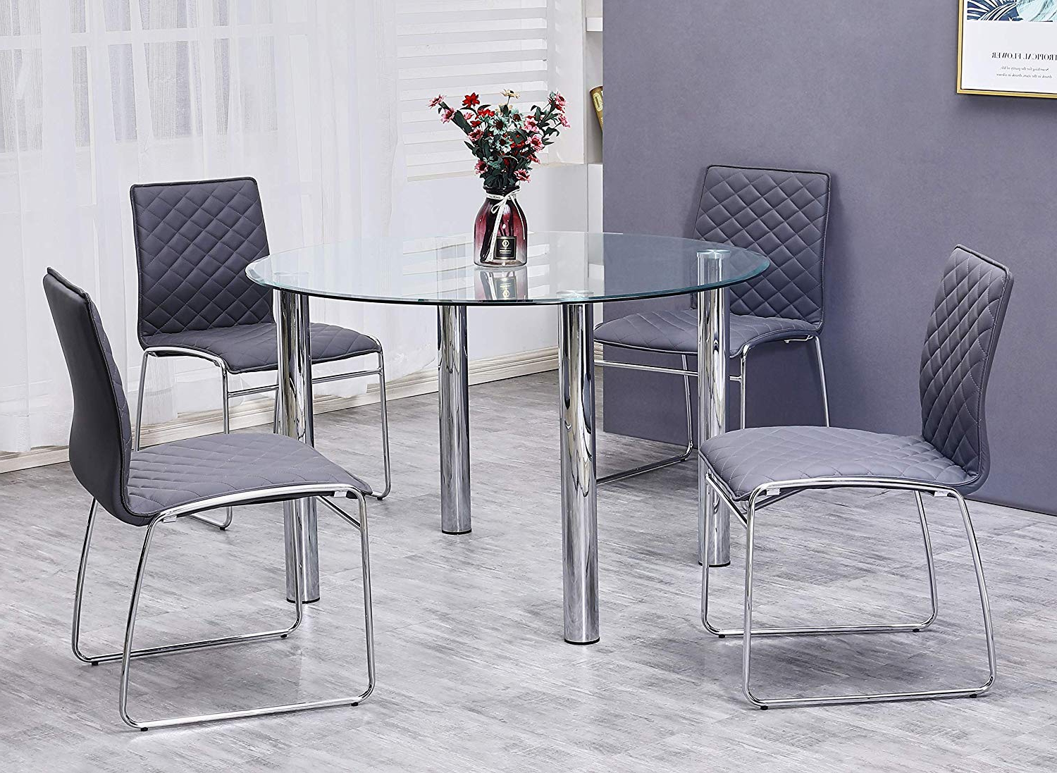4 Seater Round Wooden Dining Tables With Chrome Legs In 2018 Amazon – Best Master Furniture Tarina 5 Pcs Round Glass (View 6 of 30)