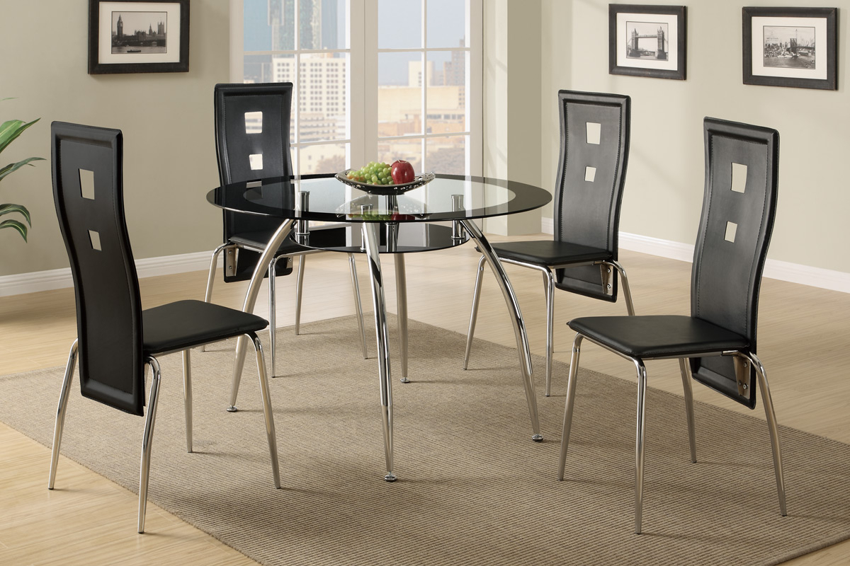 4 Seater Round Wooden Dining Tables With Chrome Legs In Well Known 5 Pcs Metal Dining Set (Table + 4 Chairs) F (View 12 of 30)