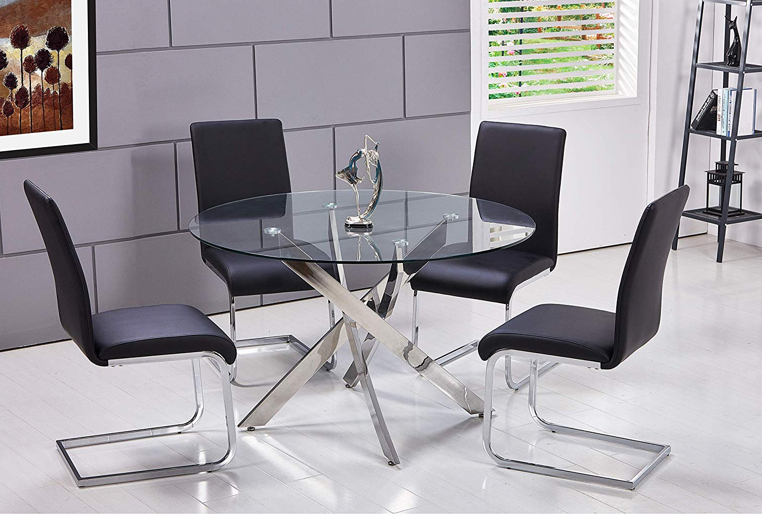 4 Seater Round Wooden Dining Tables With Chrome Legs Pertaining To Latest Amazon – Best Master Furniture T01 Mirage 5 Pcs Glass (View 11 of 30)