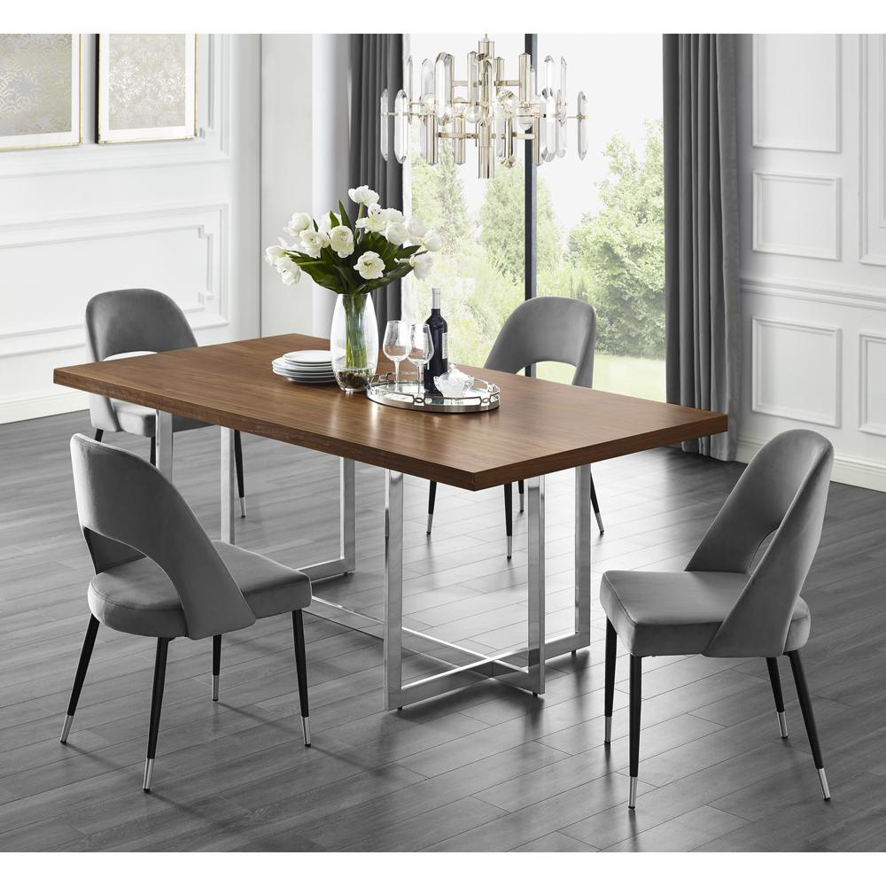 4 Seater Round Wooden Dining Tables With Chrome Legs With Regard To 2018 Inspired Home Davian 78.8 In (View 30 of 30)