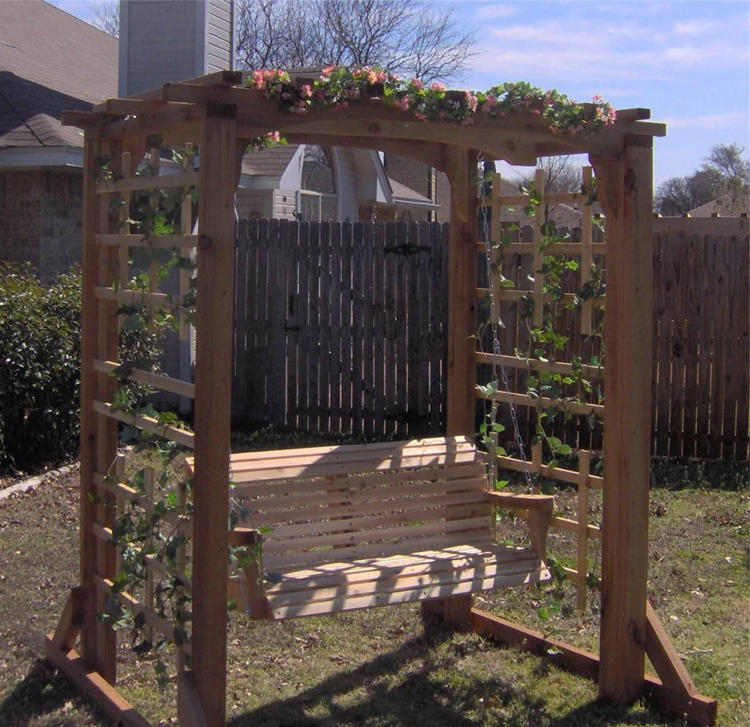 5 Ft Cedar Swings With Springs With Regard To Widely Used New Cedar Garden Arbor 5 Ft Porch Swing Pergola With Heavy (Gallery 5 of 30)