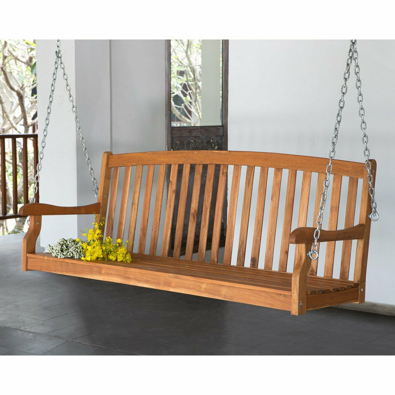 5 Ft Wood Porch Swing Slat Back 2 Person Bench Seat Loveseat Tree Furniture New Regarding Widely Used 2 Person White Wood Outdoor Swings (View 14 of 30)