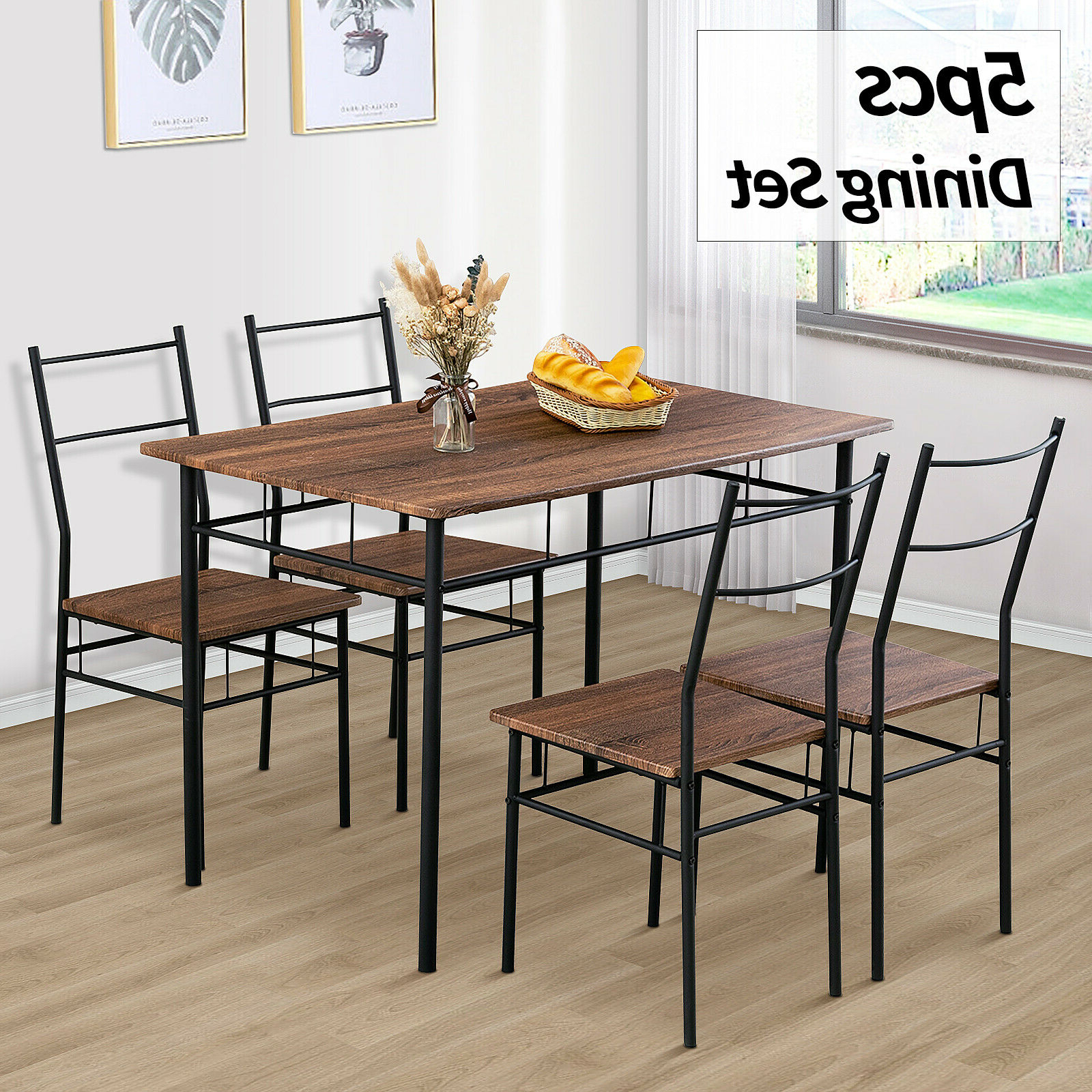 5 Piece Metal Dining Table Furniture Set 4 Chairs Wood Top Dining Room Brown Within Best And Newest Wood Top Dining Tables (Gallery 7 of 30)