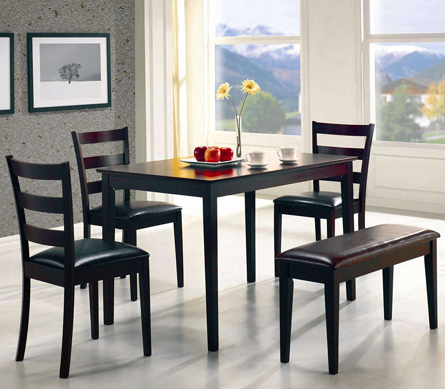 5pc Dining Dinette Table Chairs & Bench Set Cappuccino Finishhome Life Throughout Recent Cappuccino Finish Wood Classic Casual Dining Tables (Gallery 28 of 30)
