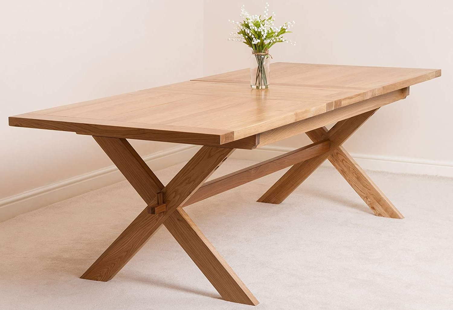 6 8 Seater Cross Leg Refectory Dining Table (View 11 of 30)