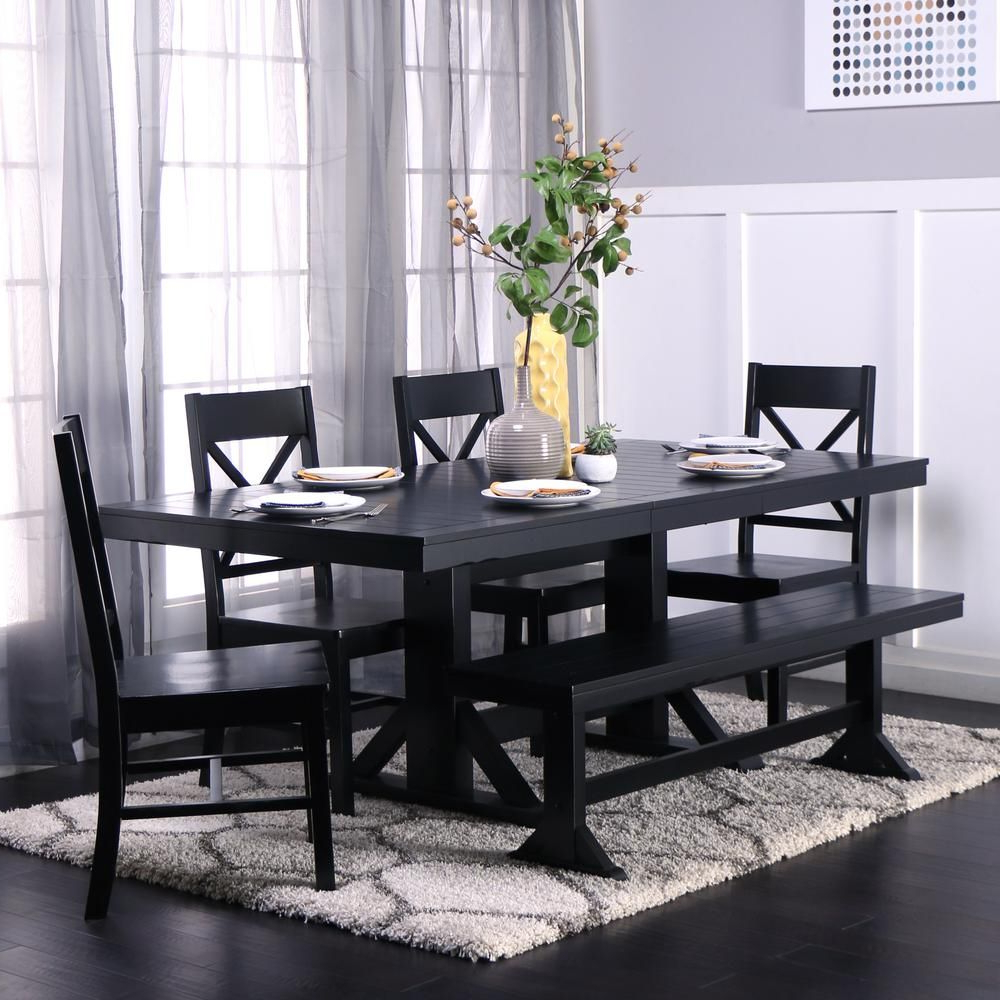 6 Piece Antique Black Wood Kitchen Dining Set (View 2 of 30)