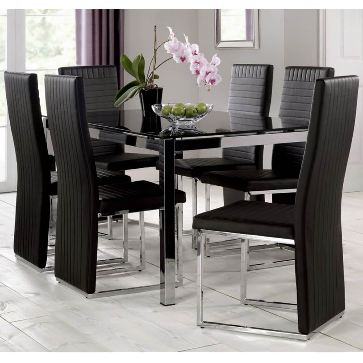 6 Seater Retangular Wood Contemporary Dining Tables Inside Most Current Tempo Black Dining Table With Black Chairs (View 6 of 30)
