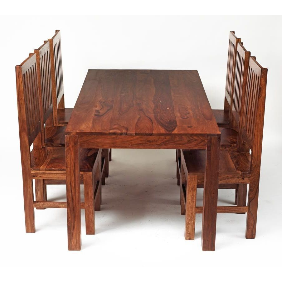 6 Seater Retangular Wood Contemporary Dining Tables With Newest 6 Seater Dining Set Rectangular Table Honey Wood Finish (View 9 of 30)