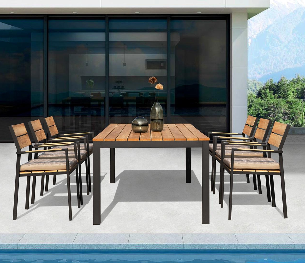 6 Seater Retangular Wood Contemporary Dining Tables Within Most Up To Date Modern Teak And Aluminium Garden Dining Table And Armchair Sets (View 10 of 30)