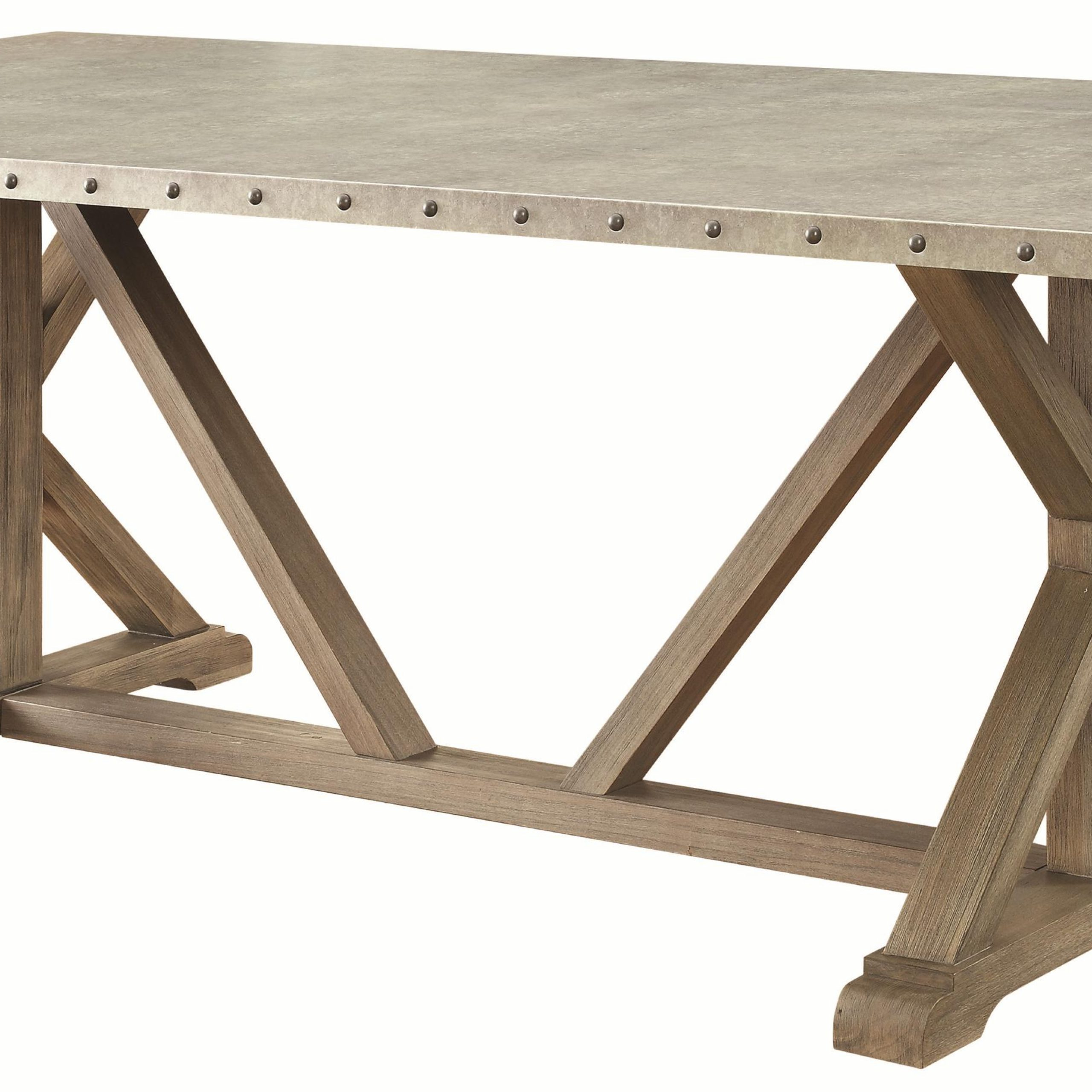 7 Piece Transitional Style Table And Chair Set With Metal For Well Known Transitional Driftwood Casual Dining Tables (View 2 of 30)