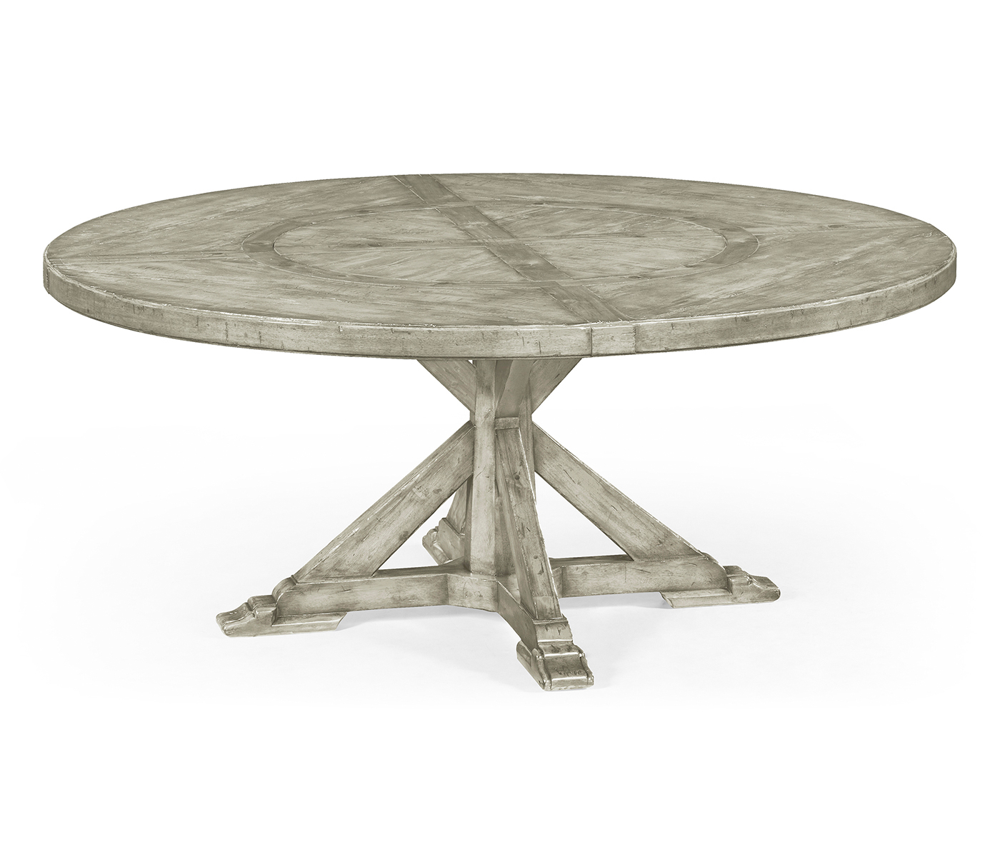 "72"" Rustic Grey Round Dining Table With Inbuilt Lazy Susan Within Favorite Rustic Country 8 Seating Casual Dining Tables (View 30 of 30)"