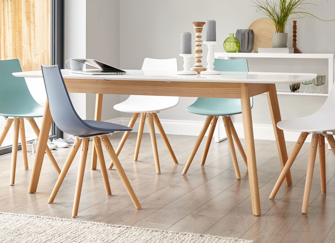8 Seater Wood Contemporary Dining Tables With Extension Leaf For Popular Aver Oak And White Extendable Table (View 26 of 30)