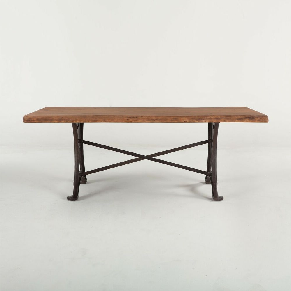 "80"" L Colton Dining Table Raw Walnut Top Iron Base Hand Intended For Most Popular Acacia Wood Top Dining Tables With Iron Legs On Raw Metal (View 5 of 30)"